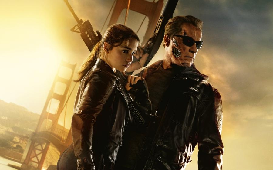 emilia clarke and arnol in terminator