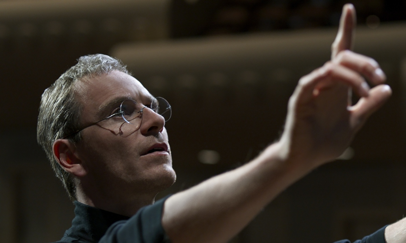"""In this image released by Universal Pictures, Michael Fassbender appears in a scene from the film, """"Steve Jobs."""" (Universal Pictures via AP)"""